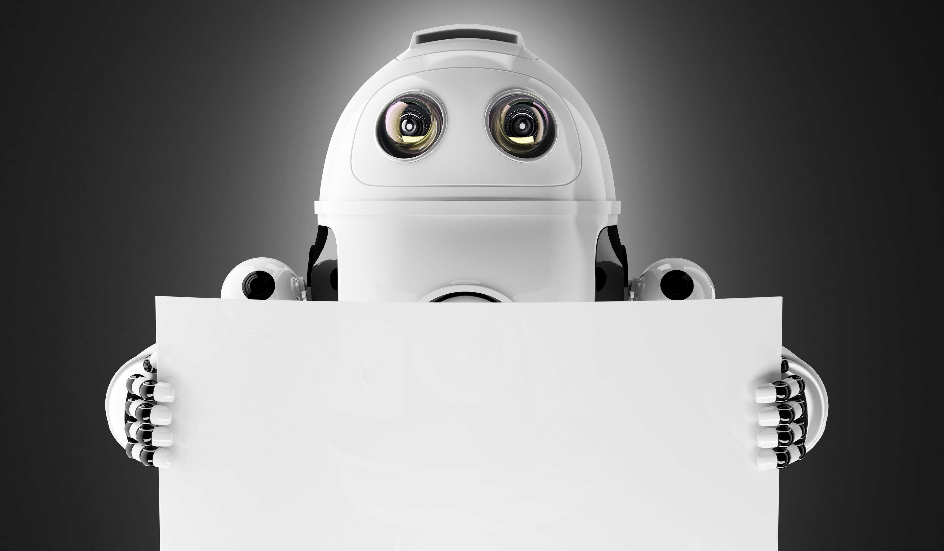 Android robot holding a blank board with copyspace on white