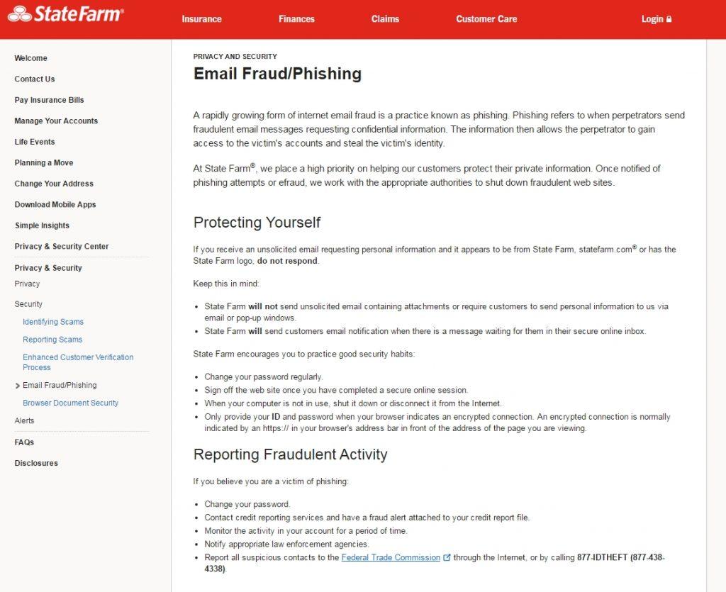 Advertencia de casos de phising