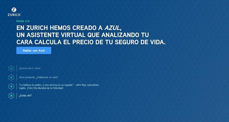 Primera pantalla de AZUL, de ZURICH
